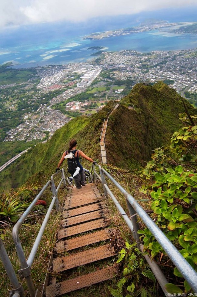 View from the Haiku stairs in Hawaii is truly spectacular.