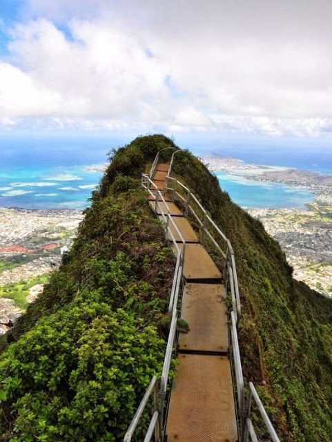 A breathtaking view from the Haiku stairs in Oahu.