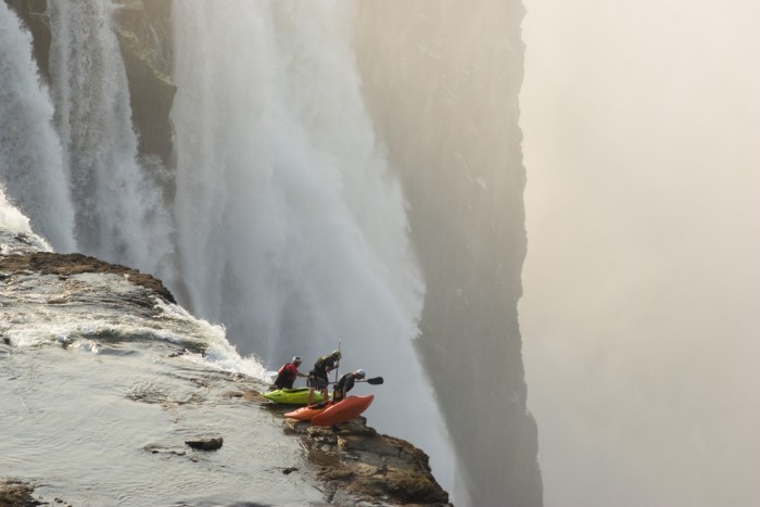These kayakers are not afraid of heights.