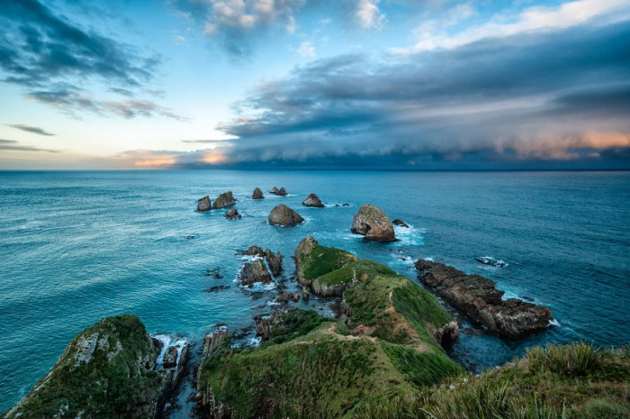 Approaching storm in The Nugget Point in New Zealand.