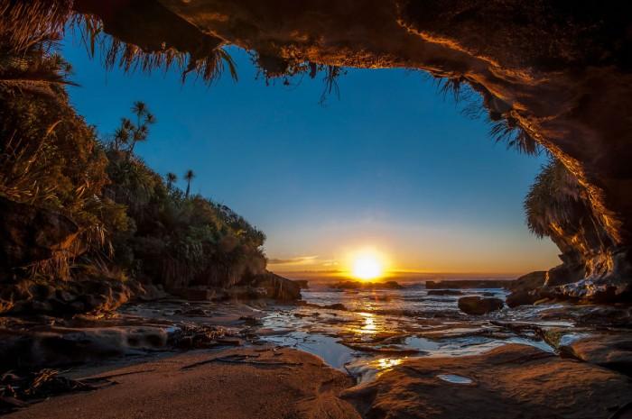Beautiful west coast sunset of New Zealand's South Island.