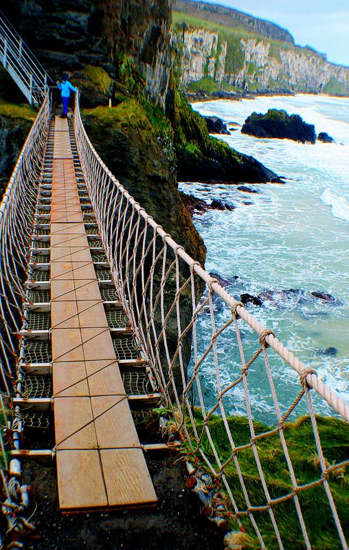 Spectacular view from Carrick-a-rede hanging bridge in Northern Ireland.