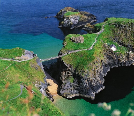 Stunning view on Carrick-a-Rede hanging bridge in Northern Ireland.