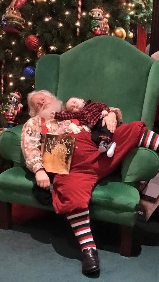 While waiting to meet Santa, baby Zeke suddenly fell asleep.