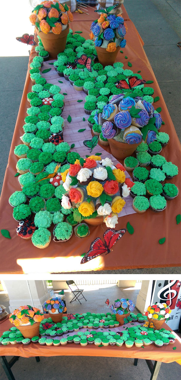 Cupcakes garden look really cool.