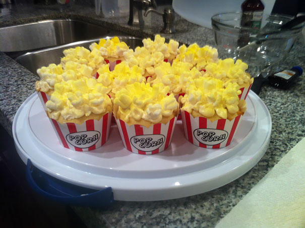 Popcorn cupcakes are just as tasty as they look.