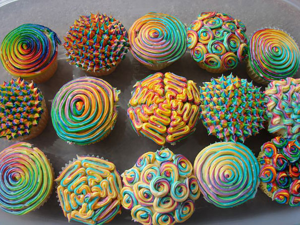 Some of the most creative cupcakes are psychedelic cupcakes.
