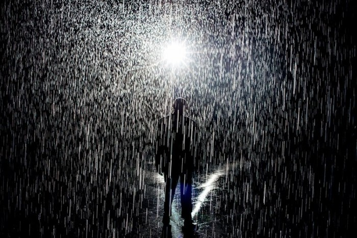 LACMA lets you walk through rain without getting wet.