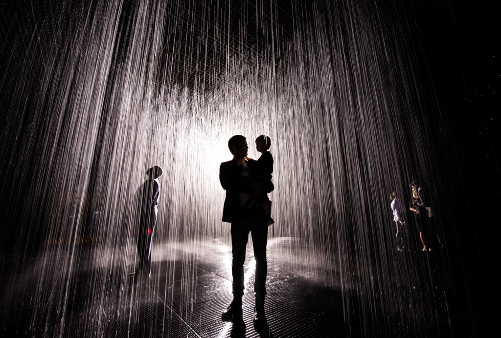 Walking through rain without getting wet is possible at Los Angeles County Museum of Art.