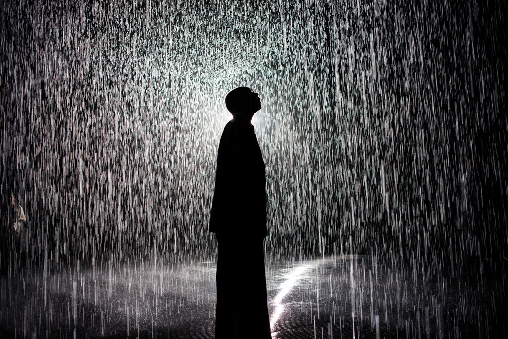 Rain Room allows its visitors a surreal experience-walking through rain without getting wet.