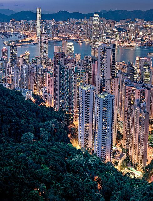 Impressive view of Hong Kong's skyline from Victoria Peak.