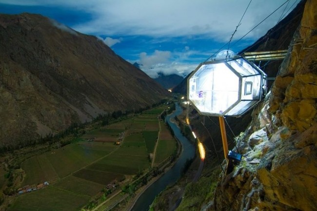 The scariest hotel room in the world is overlooking the Sacred Valley in Peru.