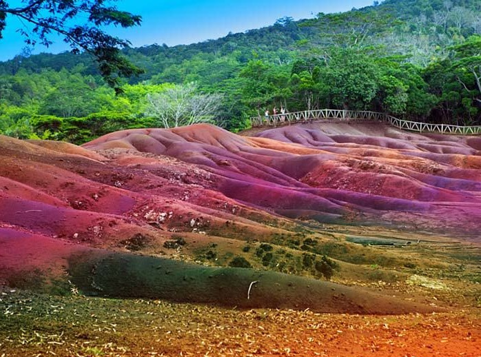 Seven Colored Earth of Chamarel was formed when volcanic rock cooled at different temperatures.