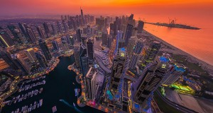 Amazing fisheye view of Dubai captured by Albert Dros.