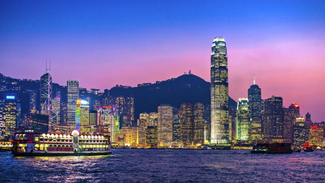 Dusk in Hong Kong looks amazing.
