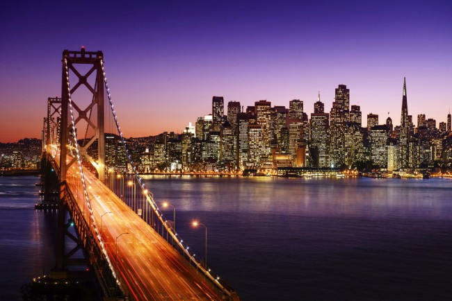 At dusk the city of San Francisco comes to life.