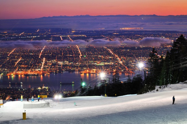 these are beautiful photos of Vancouver taken at dusk.