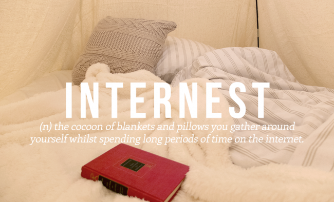 INTERNEST means getting all blankets around yourself while spending hours on the internet.
