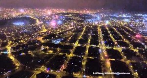 Spectacular fireworks over Lima in Peru, captured from a drone.