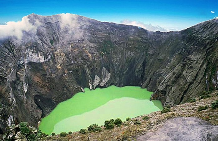 One of the most incredible crater lakes on earth is at Irazu volcano in Costa Rica.