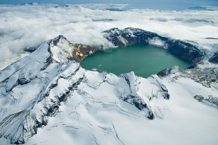 One of the most incredible crater lakes on earth is Katmai lake in Alaska.