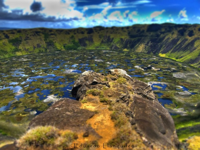 Rano Kau in Chile is one of the most incredible crater lakes on earth.