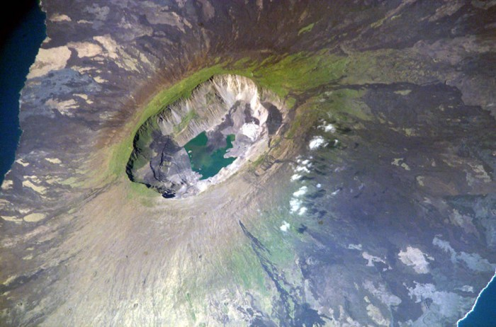 One of the most incredible crater lakes on earth is La Cumbre crater lake in Galapagos.