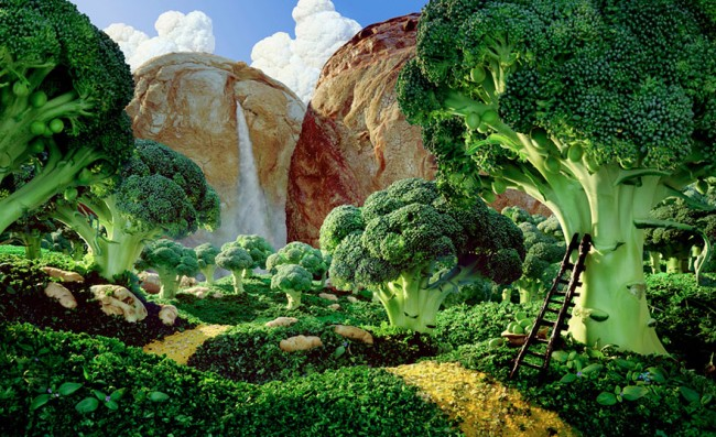 Broccoli Forest is one of the most incredible landscapes made of food by Carl Warner.