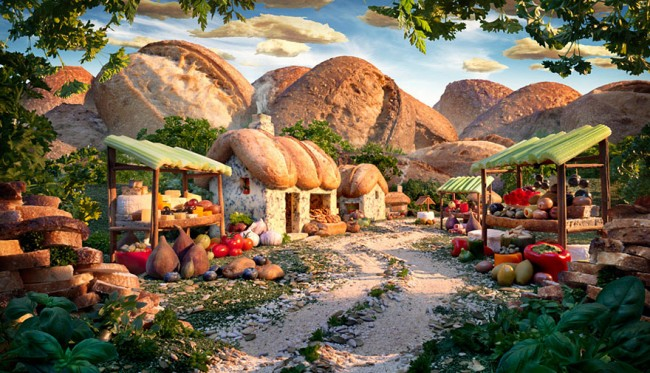 Bread Village is one of the most incredible landscapes made of food by Carl Warner.