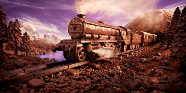 Chocolate Express is one of the most incredible landscapes made of food by Carl Warner.