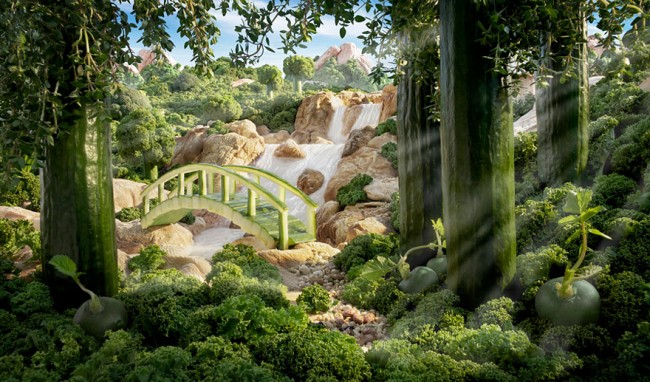 Cucumber Bridge is one of the most interesting landscapes made of food by Carl Warner.