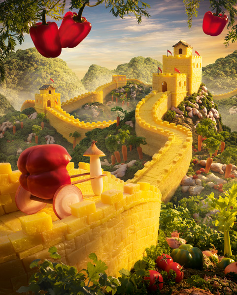 Great Wall of Pineapple is one of the most incredible landscapes made of food by Carl Warner.