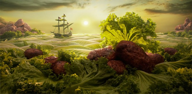 Lettuce Seascape is one of the coolest landscapes made of food by Carl Warner.