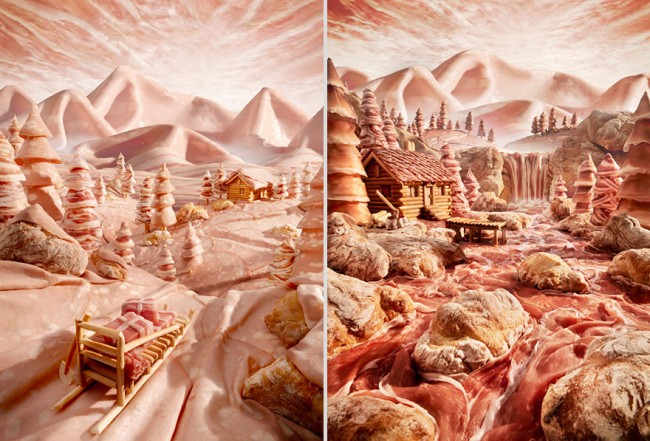 Salami Mountains and River is an incredible foodscape by London-based photographer Carl Warner.