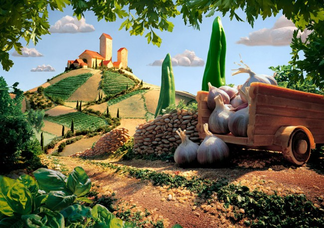 Tuscan Landscape is one of the most interesting landscapes made of food by Carl Warner.
