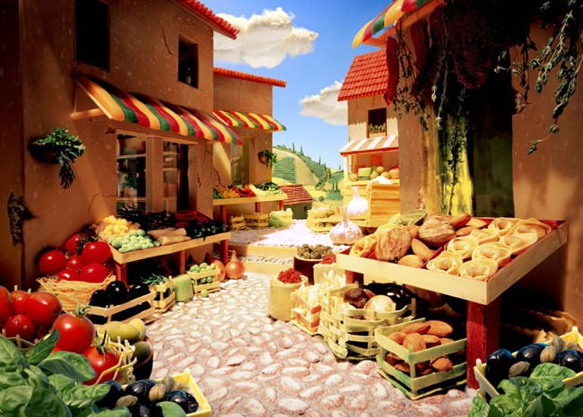 Tuscan Market is one of the most incredible landscapes made of food by Carl Warner.
