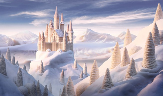 White Chocolate Castle is one of the most incredible landscapes made of food by Carl Warner.