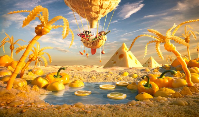 Yellow Oasis is one of the coolest landscapes made out of food by Carl Warner.