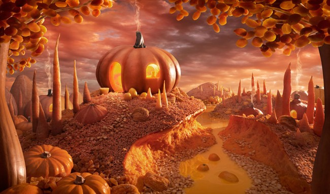 Pumpkin paradise is one of the most incredible landscapes made of food by Carl Warner.