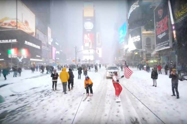 Snowboarding with the NYPD is one of the most popular blizzard videos.