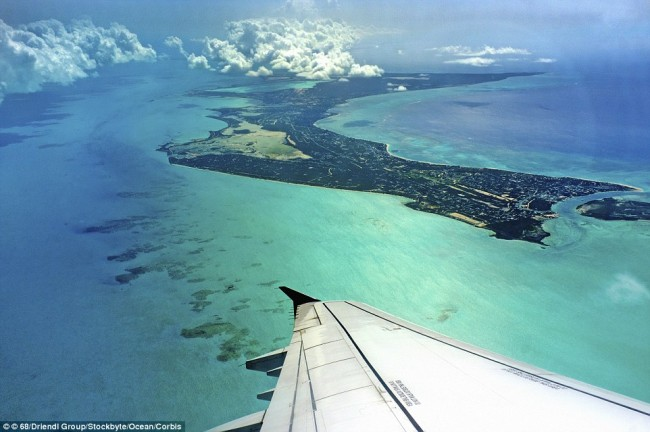 Breathtaking view of Turks and Caicos islands, taken from a window seat.