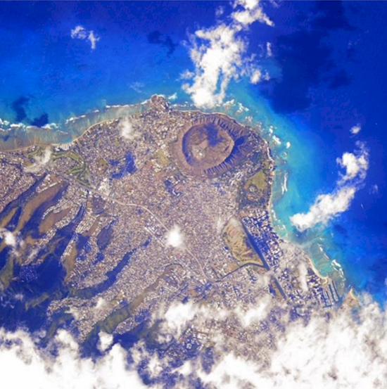 Stunning photos from the International Space Station. Honolulu, Hawaii.