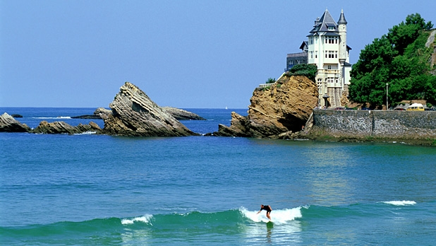 One of the 7 amazing surfing spots for beginners is in Biarritz in France.