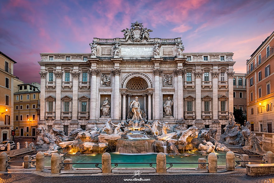 Trevi fountain in Rome during high and low season.