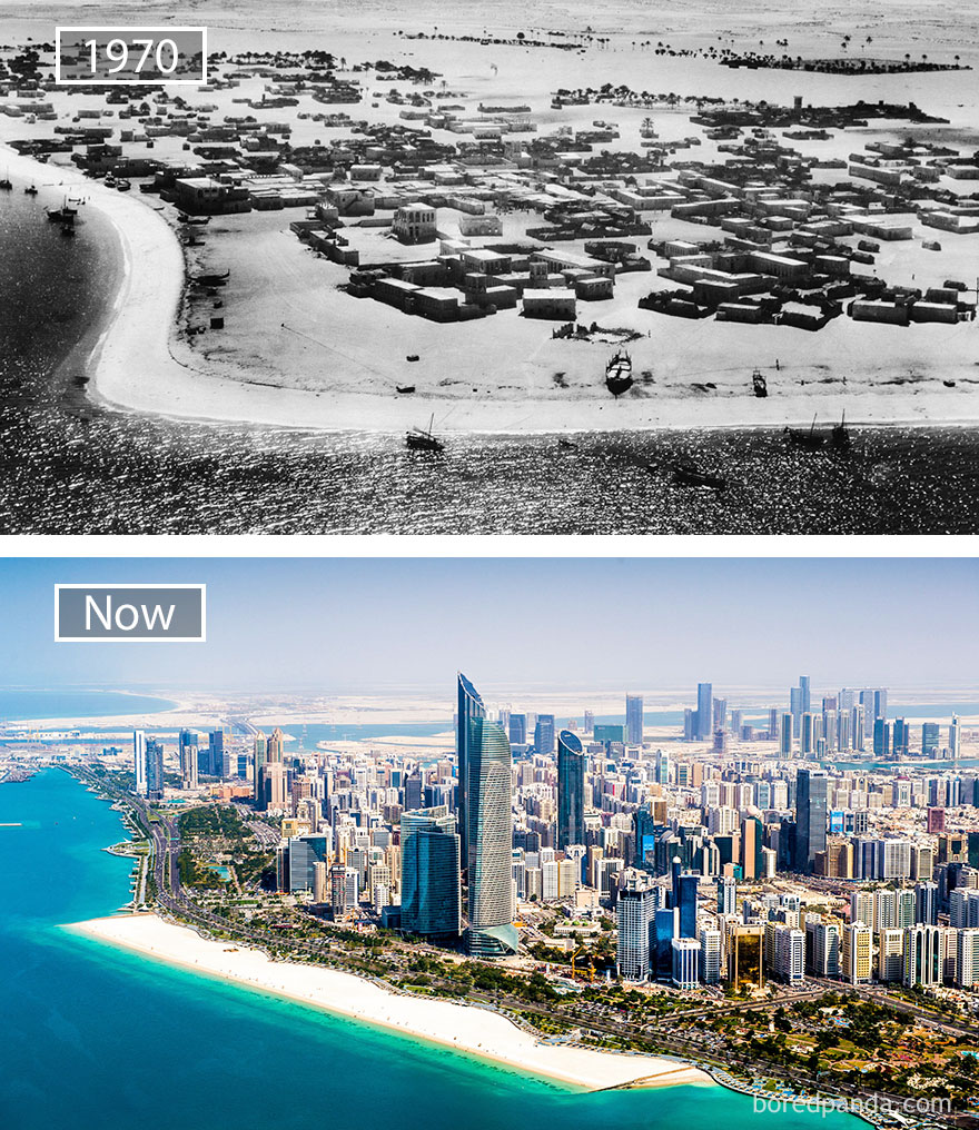Before and after pics of famous cities changed over time. This is Abu Dhabi.