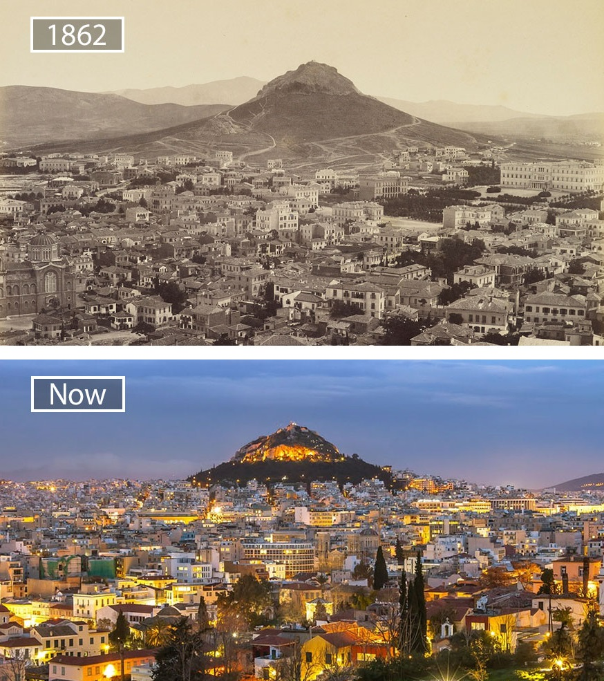 Before and after pics of famous cities changed over time. This is Athens in Greece.