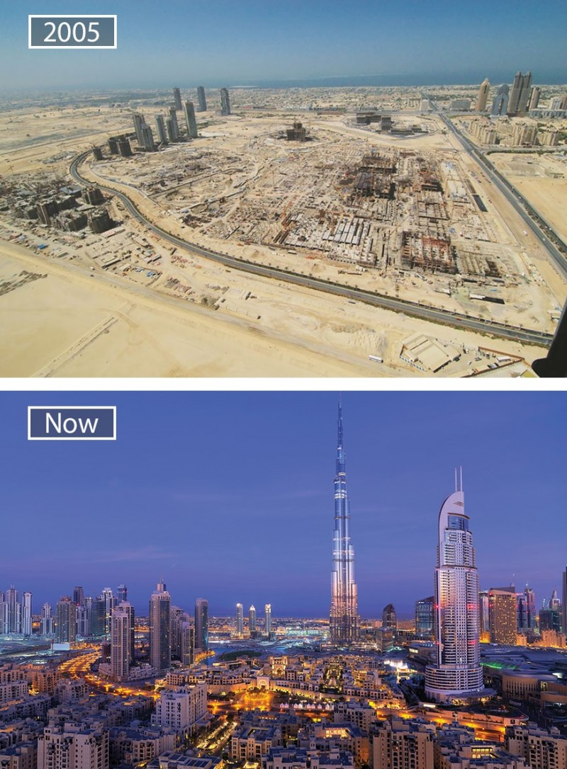 Before and after pics of famous cities changed over time. This is Dubai.