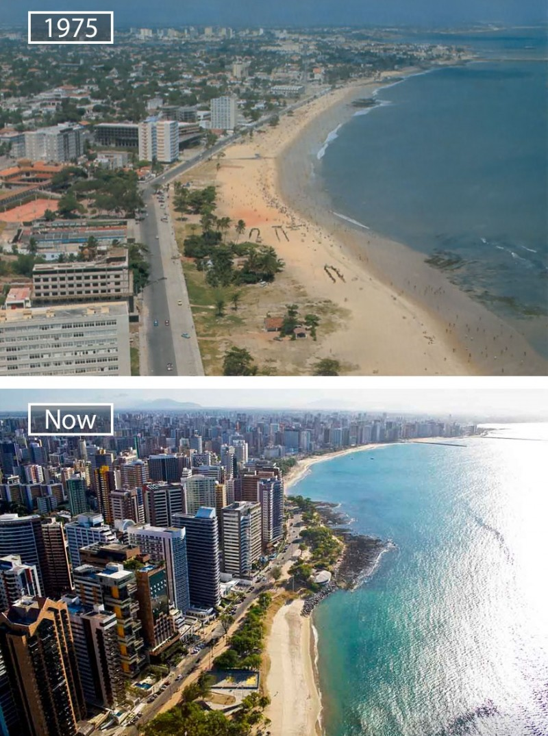 Before and after pics of famous cities changed over time. This is Fortaleza in Brazil.