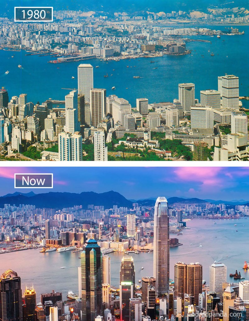 Before and after pics of famous cities changed over time. This is Hong Kong in China.