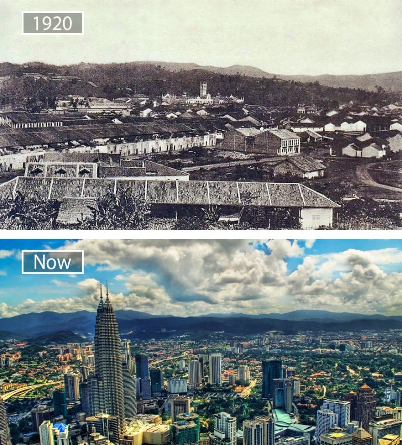 Before and after pics of famous cities changed over time. This is Kuala Lumpur in Malaysia.
